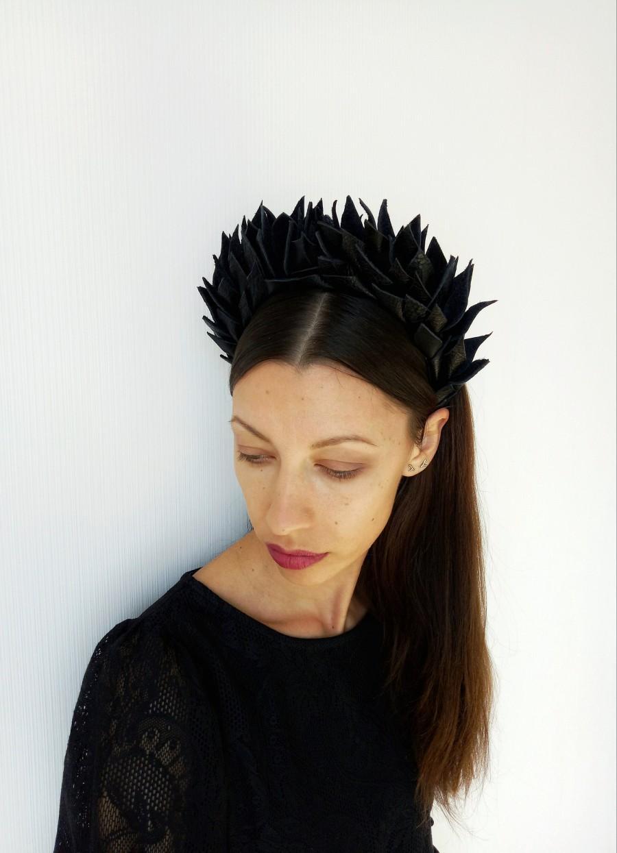 Свадьба - Black headband leather in gothic style