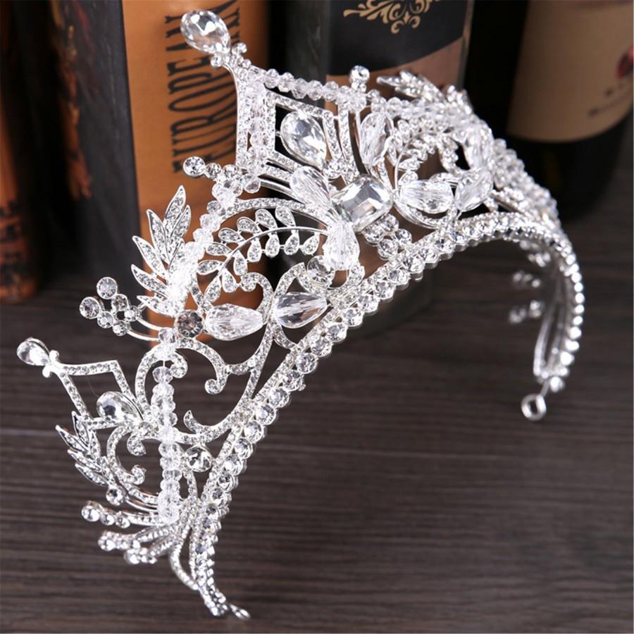 Свадьба - Siilver Wedding Crown Crystal Bridal Crown Silver Wedding Tiara Crystal Hair Accessory Baroque Bridal Tiara Crystal Wedding Crown