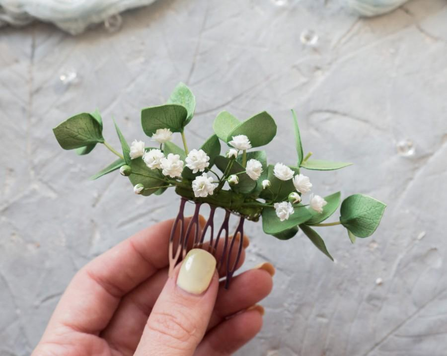 Свадьба - Wedding greenery hair piece Eucalyptus flower comb