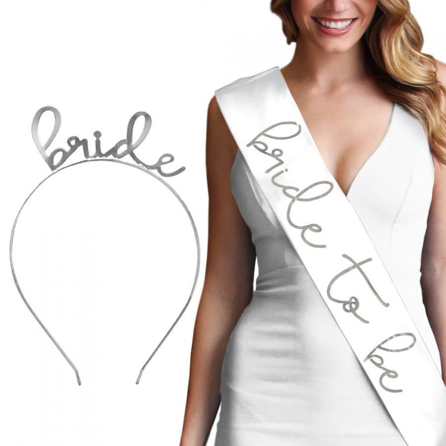 Свадьба - Silver Lovely Bride Headband & Sash - Bridal Shower Favors, Headband, Bride Tiara, Bachelorette Favors, Bride Sash,  Bride Gift