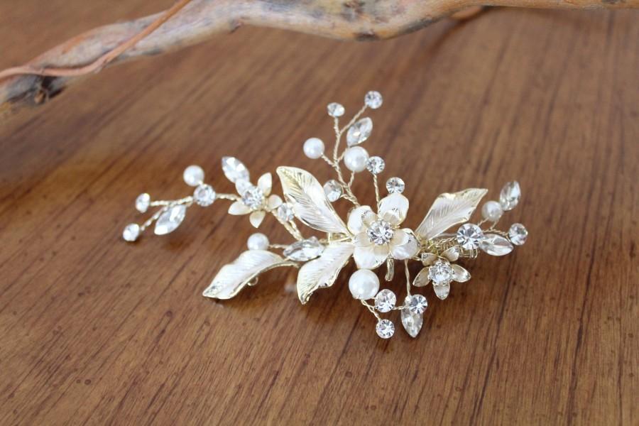 Свадьба - Bridal hair clip Wedding hair accessory Bridal hair comb Leaf hair clip Bridal hair piece Bridal hair vine Rose gold Crystal hair comb