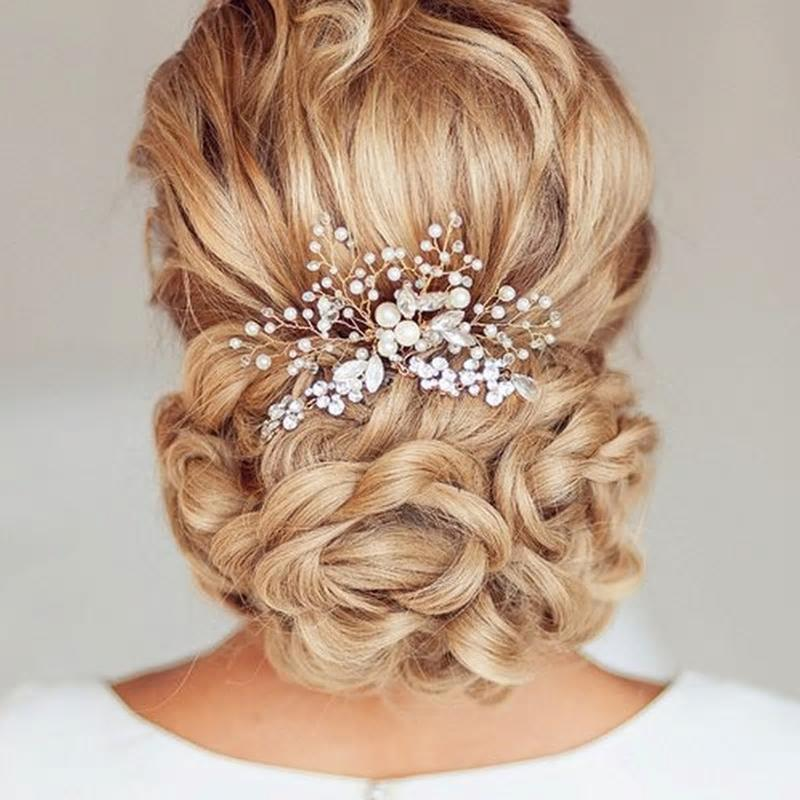 Свадьба - Handmade Faux Pearl Spray On Silver Bridal Hair Comb With Rhinestones & Crystal Beads
