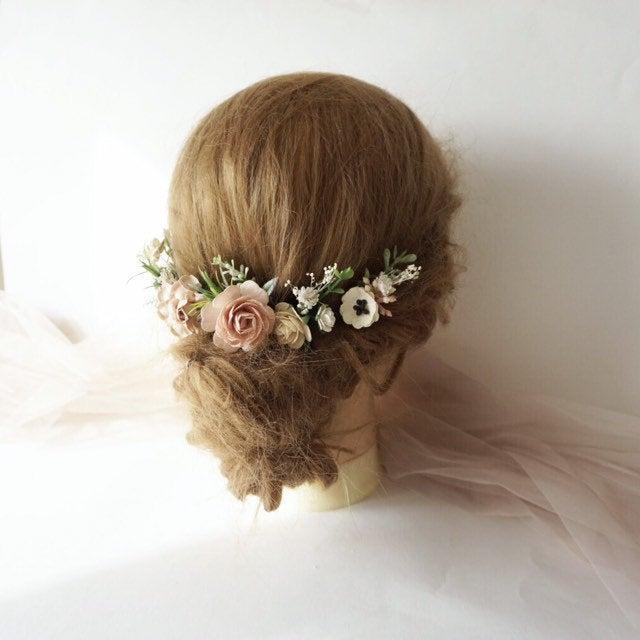 Свадьба - Flower hair pins, bridal hair pins, art 4, bridal hair piece blush, set of 5 hair pins, floral hair pins, bridesmaids hairpiece, blush hair