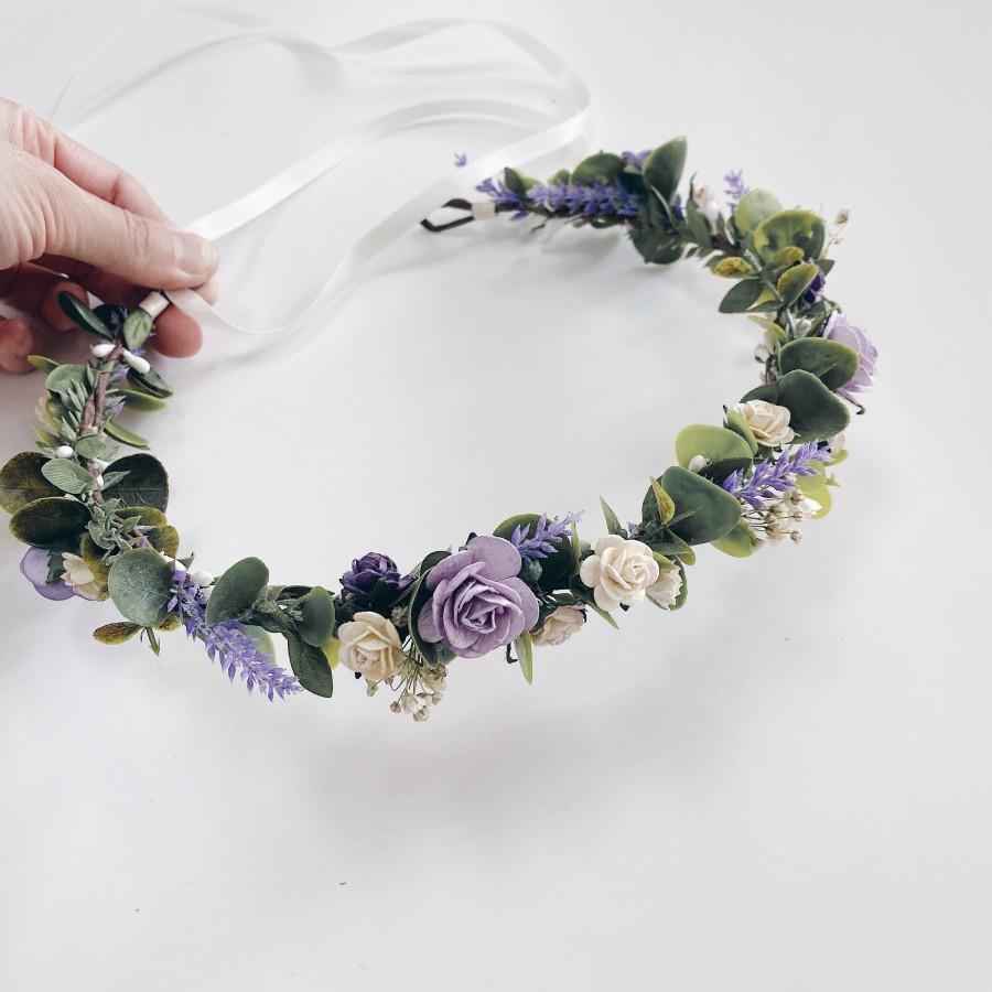 Свадьба - Lavender crowns, purple and ivory head wreath, lavender bridal crown, bridal floral crown, flower crown, purple halo, purple wedding , green