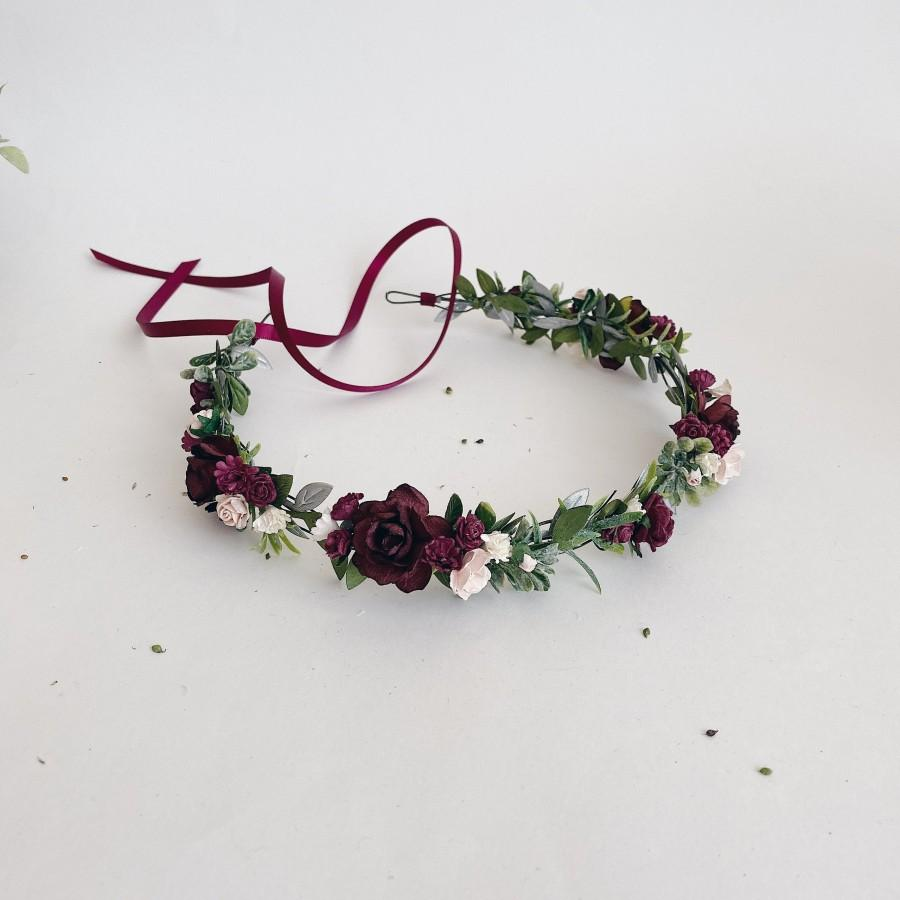 Свадьба - Burgundy and Blush Flower Crown. Deep red flower crown. Burgundy flower crown. Burgundy headpiece. Wine flower crown. Pink floral crown. Boh