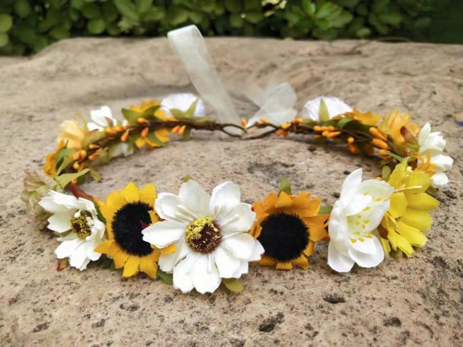 Свадьба - Sunflower crown, Sunflower headband. Flower girl crown. Wedding flower crown. Baby flower crown. Flower girl headband. Bridal flower Crown.