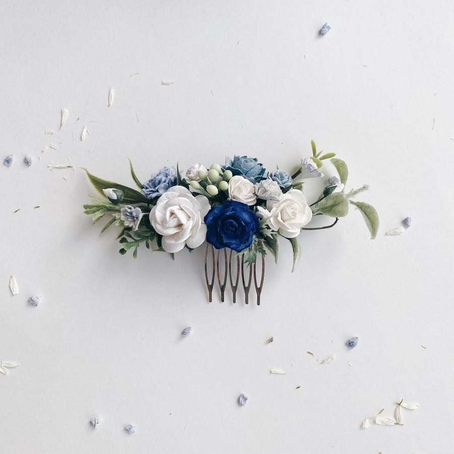 Свадьба - Classic blue and white Floral Hair comb, Dusty Blue and white headpiece, greenery comb, floral hair comb, floral hair piece, blue wedding