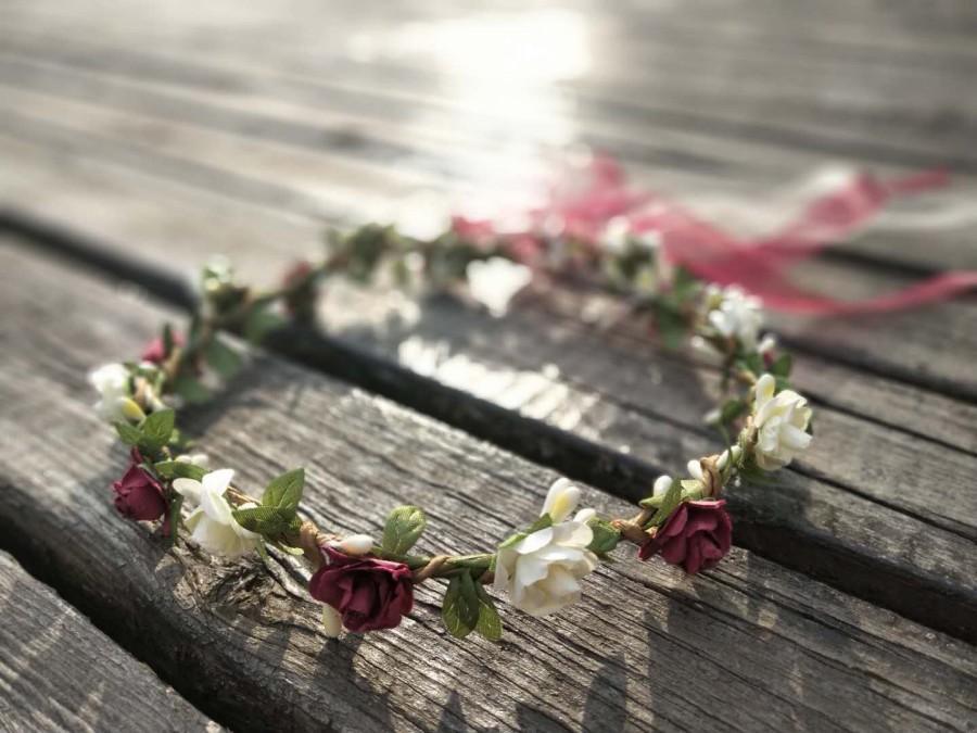 Свадьба - Burgundy & Ivory Flower Crown Flower girl crown fall Flower crown adult flower girl headpiece Wedding flower crown Flower crown for women