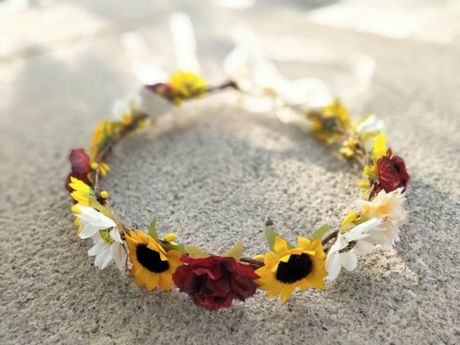 Свадьба - Sunflower Headband Baby Burgundy Sunflower Crown Flower girl crown Wedding flower crown Baby flower crown Flower girl headband Bridal crown