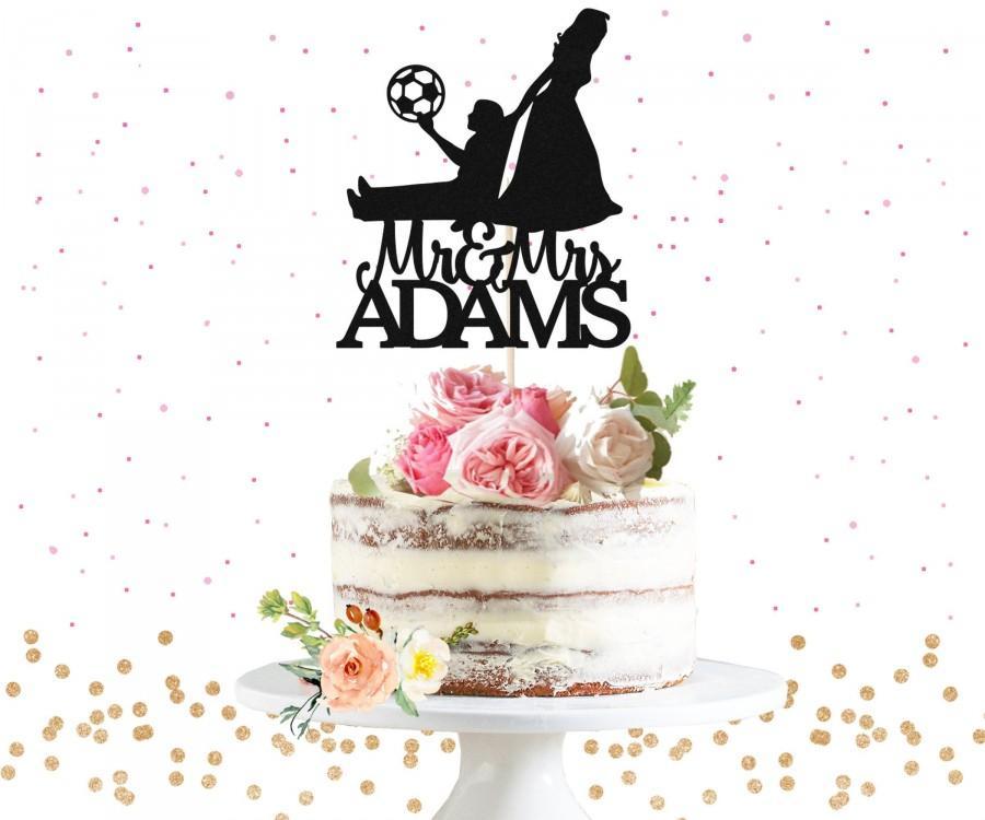 Свадьба - Personalized Soccer Mr & Mrs Cake Topper - Football Themed Wedding Cake Topper, Couple Cake Topper, Bride Dragging Groom Cake Topper