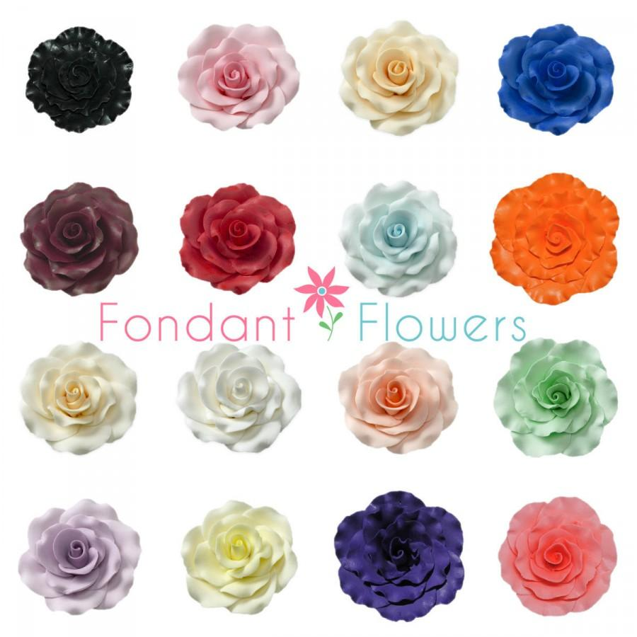 Mariage - Set of 3 - (3 inch) Sugar Roses - White Yellow Peach Purple Ivory Red Pink & More! - Edible Cake Toppers. Great for Weddings!