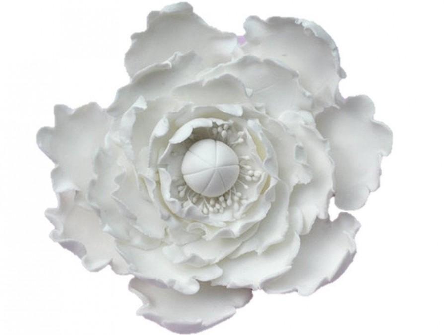 Hochzeit - Peony Flowers - White- Cake Toppers - Sugar Gumpaste Wedding