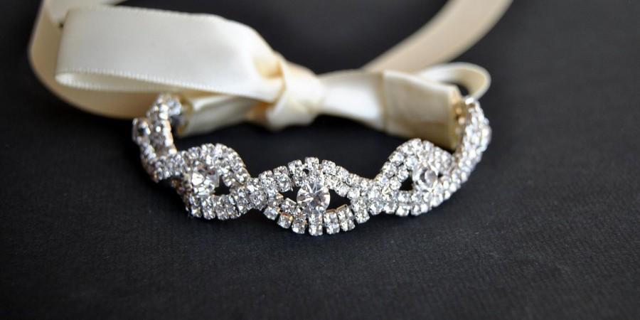 زفاف - Crystal Bracelet Rhinestone beaded cuff bracelet- bridal, bridesmaid cuff bracelet,bridal bracelet, beaded crystal cuff