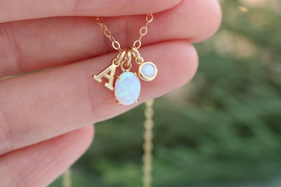 Mariage - Personalized gift for her, opal necklace, opal birthstone jewelry, opal pendant, layering necklace, opal October birthday gift for her