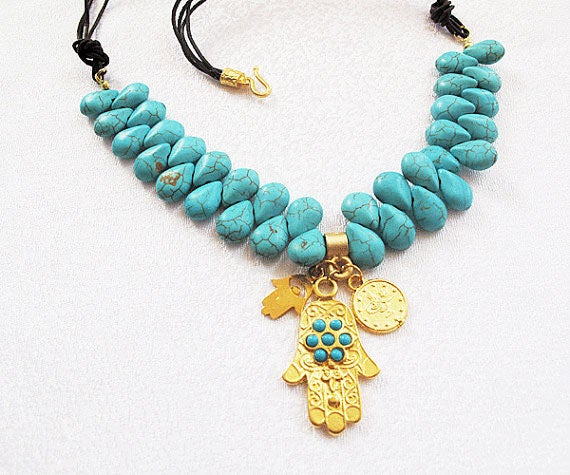 Mariage - Turquoise Stone Necklace, Hand of Hamsa pendant, Chunky Necklace, Turkish Jewelry, For Mom Gift, Jewelry For Women, Gemstone Jewelry