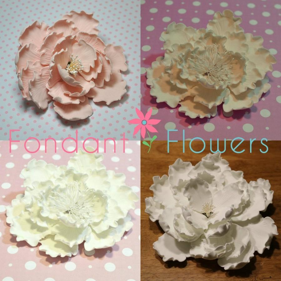 Wedding - Garden Peony Flowers - White, Pink, Ivory, Blush - Cake Toppers - Gumpaste Sugar Flowers