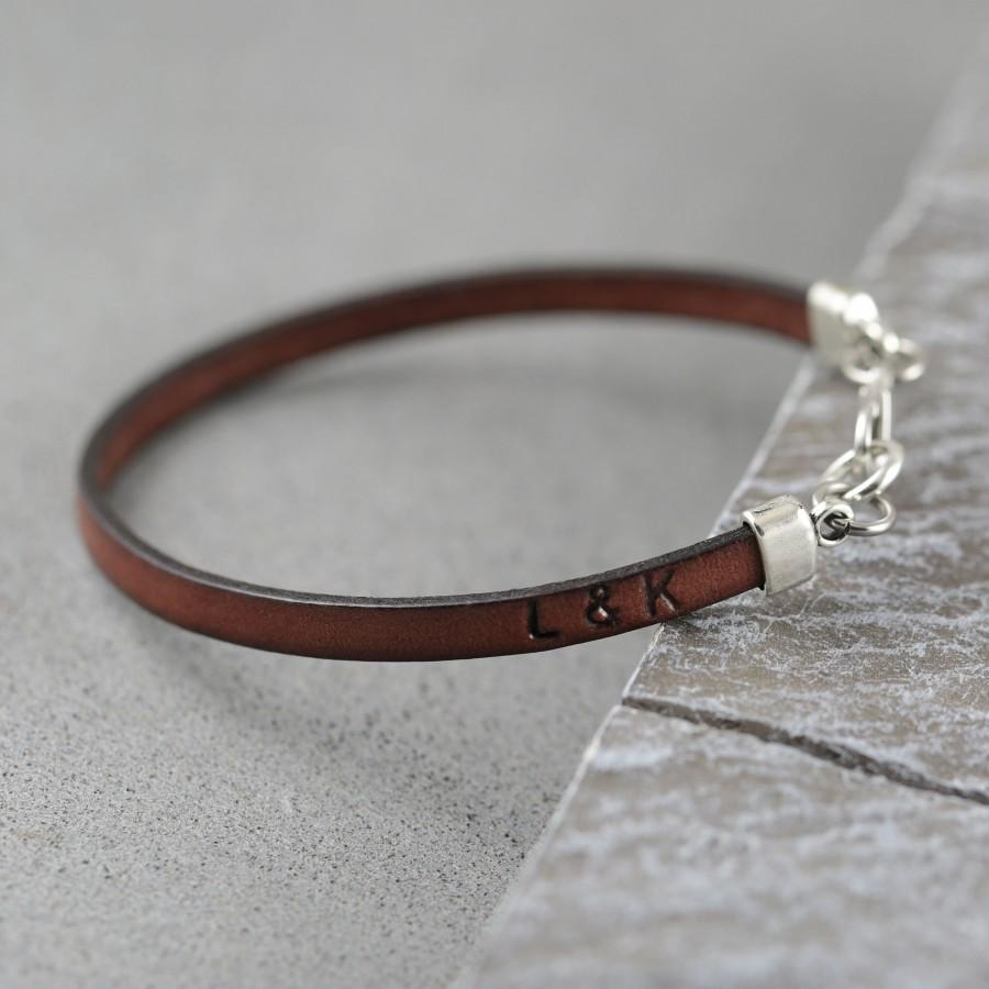 Mariage - Personalized leather bracelet men, mens bracelet, leather mens personalised bracelet, father's day gift, mens gift, husband gift