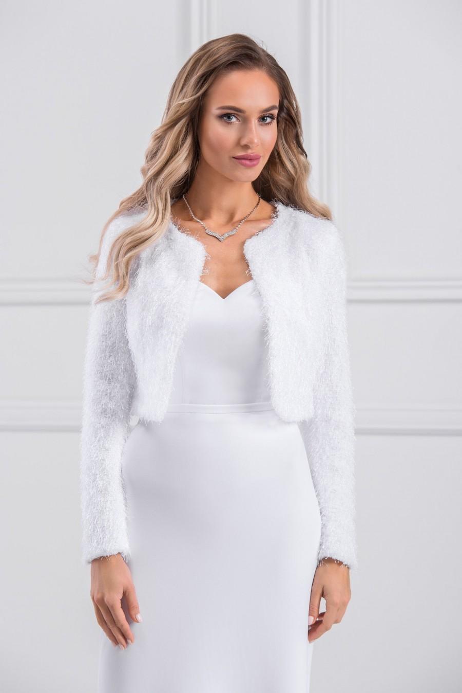 Mariage - Knit fabric Long Sleeve Warm Bridal Jacket in White or Ivory