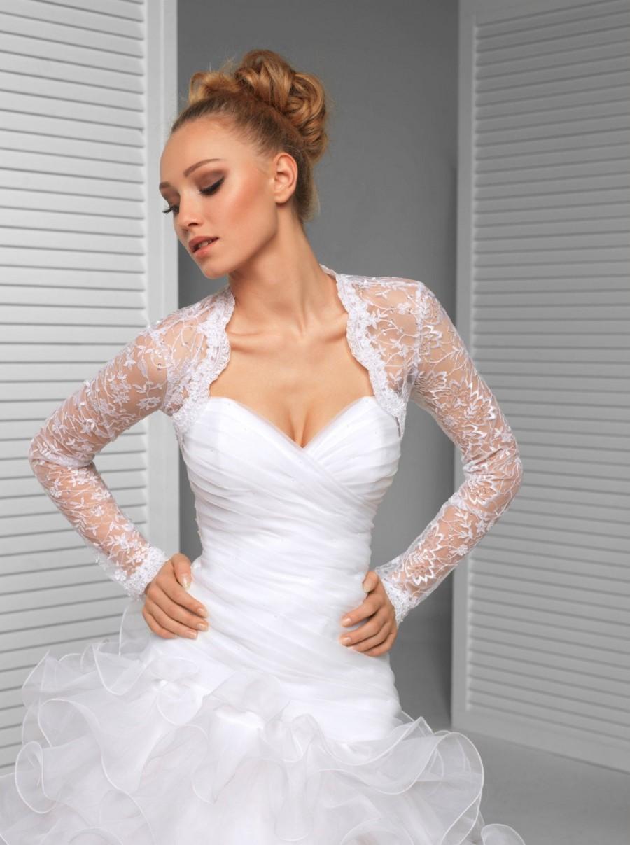 زفاف - Long sleeve Bridal Wedding Lace Shrug with sequins