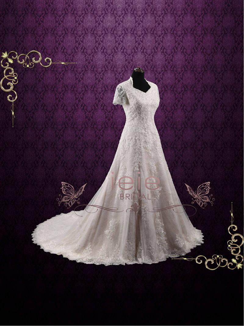 Wedding - Vintage Inspired Modest Lace Wedding Dress with Sleeves, Church Wedding Dress, Classic Wedding Dress