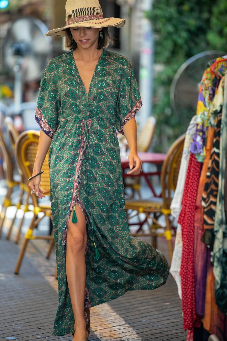 Wedding - Green Silky Kaftan Summer Dress, Women Resort Vacation Beach Dress, Long Ethnic Loose Hippie Wide Sleeves Dress