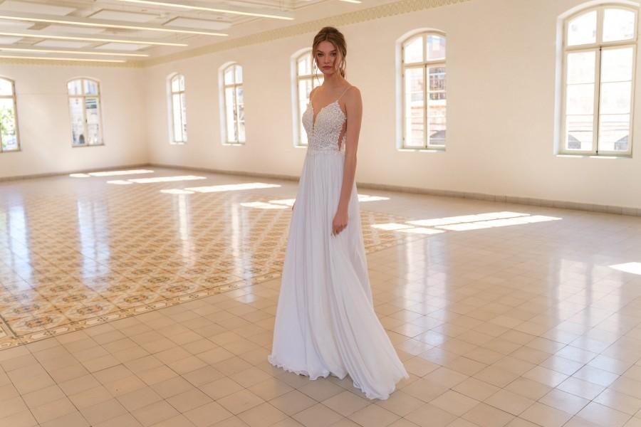 Wedding - Unique Wedding Dress, Boho Wedding Dress, Lace Wedding Dress, Bride Dress, Chiffon Wedding Dress, A-Line Wedding Dress, Beaded Lace Dress
