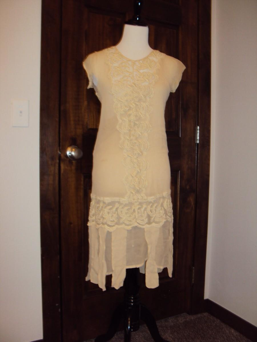 Wedding - 1920s Antique Ivory Sheer/Lace Flapper/Gatsby/Wedding/ Tea/Lawn Dress/ 2 Piece Ivory Sheer Short Dress Size S / Vtg Ivory Lace Dress