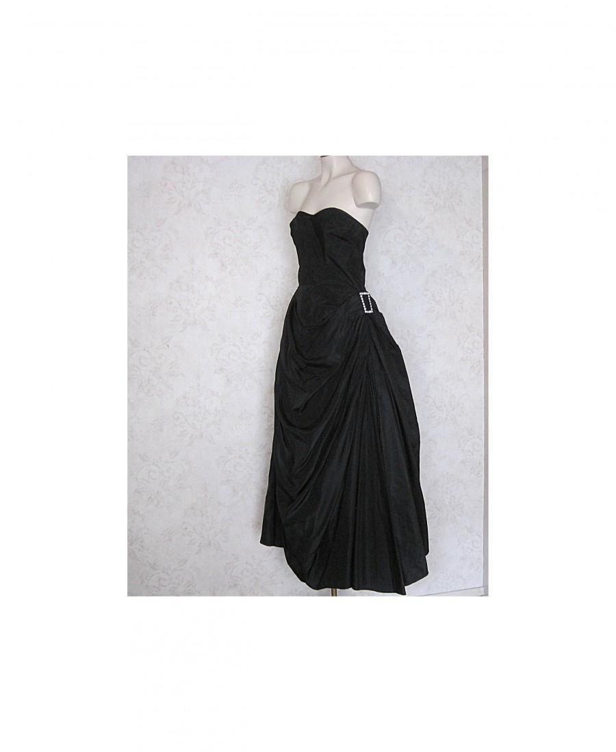 Wedding - 1950s Vintage Fred Perlberg Gown / Vintage 50s Black Strapless Dance Originals Formal Evening Gown / Floor Length Ball Gown Black Tie Dress