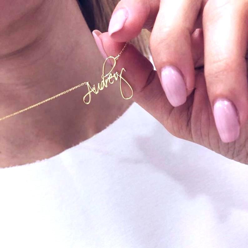 Mariage - Personalized Script Name Necklace, Custom Gold Signature Name Necklace, Personalize Necklace, Christmas, Birthday gifts for Her for Mom