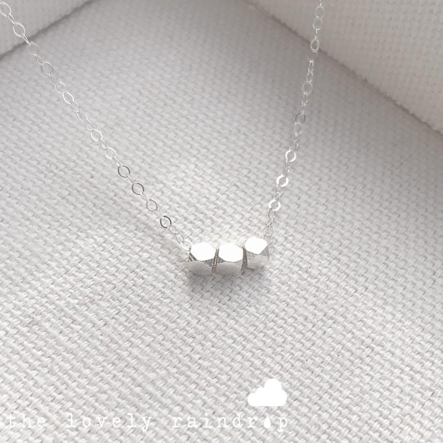 """Mariage - SALE - 17"""" Sterling Silver Tiny Bead Necklace - Minimalist Style Little small - gift for - necklace - wedding jewelry - The Lovely Raindrop"""