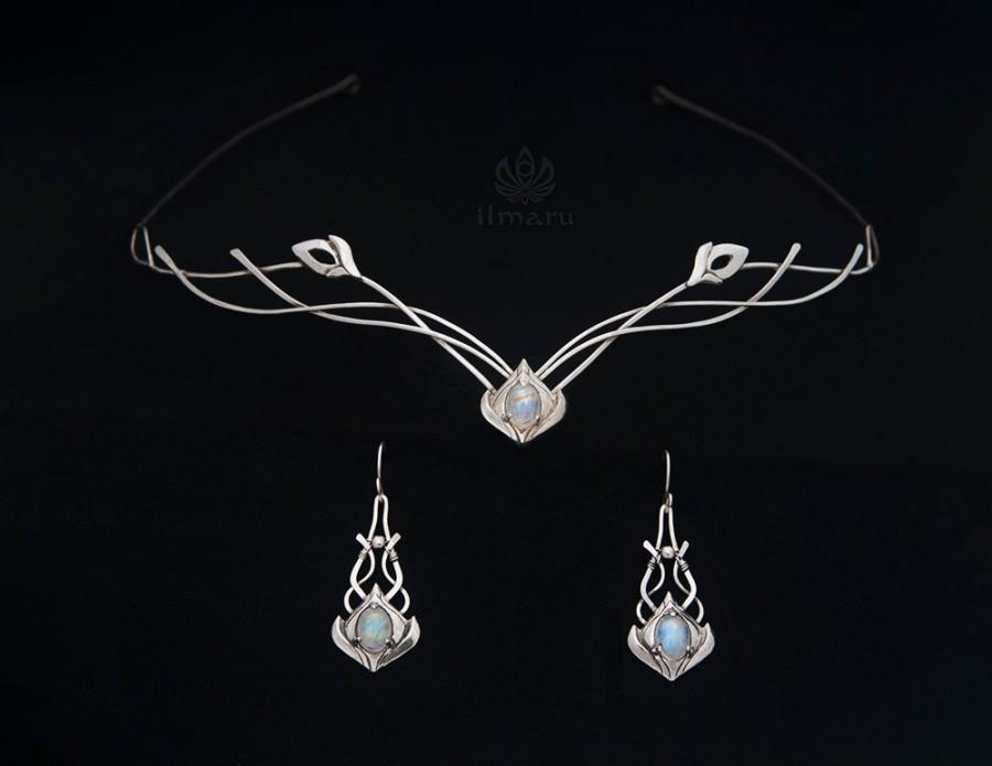 Mariage - Elven Sterling silver Set with moonstones - Made to order - circlet and earrings, bridal circlet, wedding medieval headpiece
