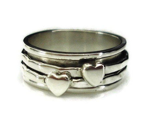 Mariage - Spinner Ring, Narrow Spinning Ring, Heart Ring, Spinner Rings for Women, Silver Thumb Ring, Spin Rings, Meditation Ring, Mistry Gems, SP69S