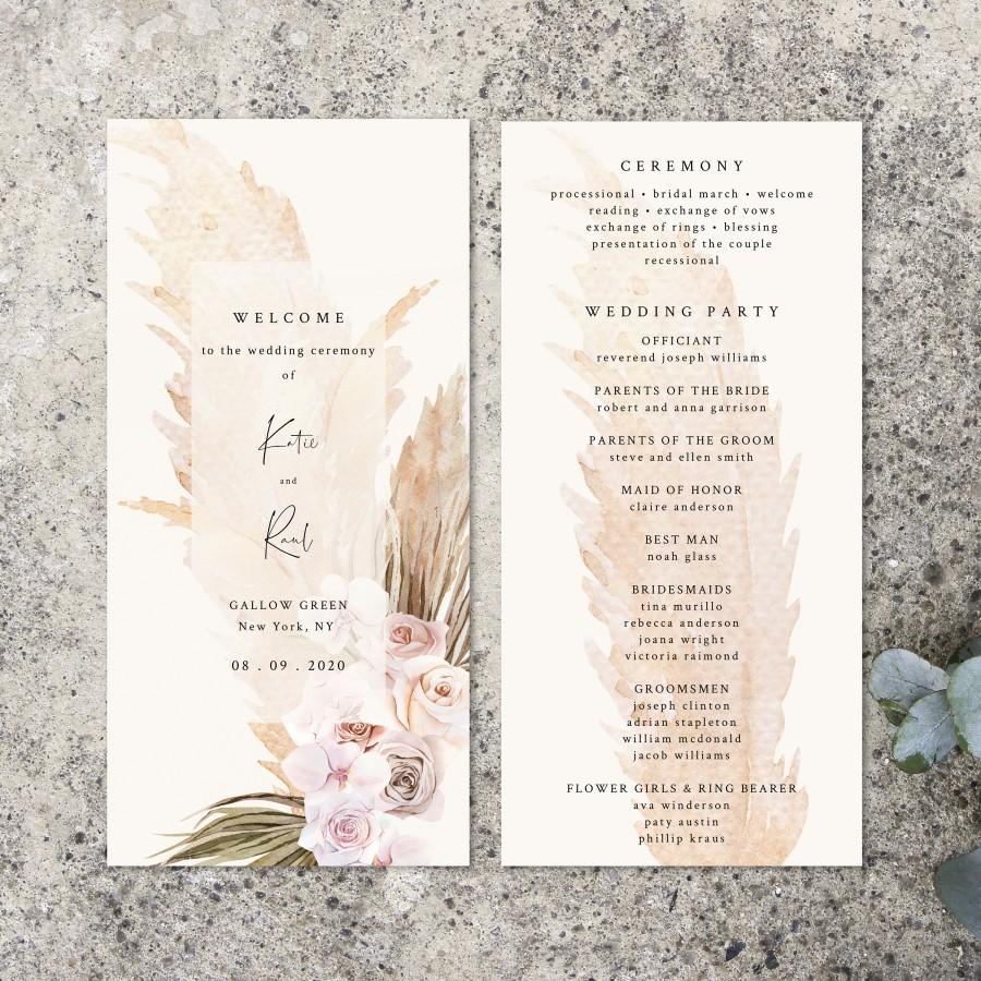 Свадьба - Pampas Grass Wedding Program Template, Printable Order Of Service, Boho Editable Ceremony Program, INSTANT DOWNLOAD, Templett, Pampas1