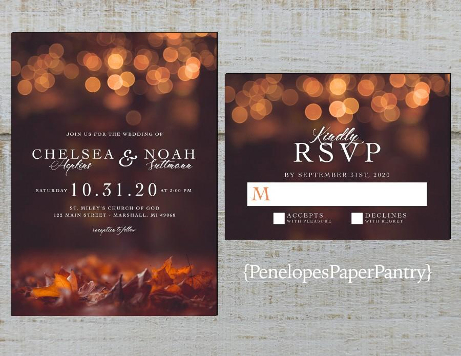 Свадьба - Romantic Fall Wedding Invitation,Fall Leaves,Glowing Lights,Bubble Lights,Shimmery,Personalize,Printed Invitation,Wedding Set,Envelope