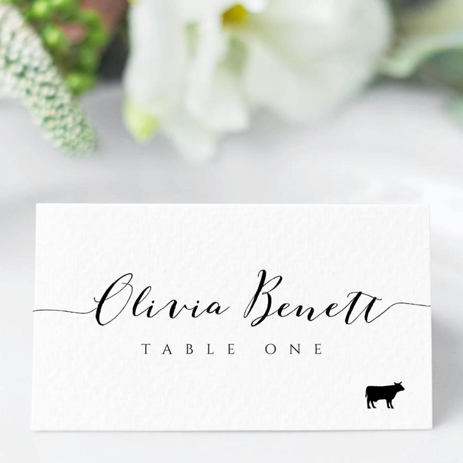 Свадьба - Place Card Template With Meal Icons, Editable Wedding Place Cards, Printable Escort Cards, Folded Place Cards Flat, Templett , BW1