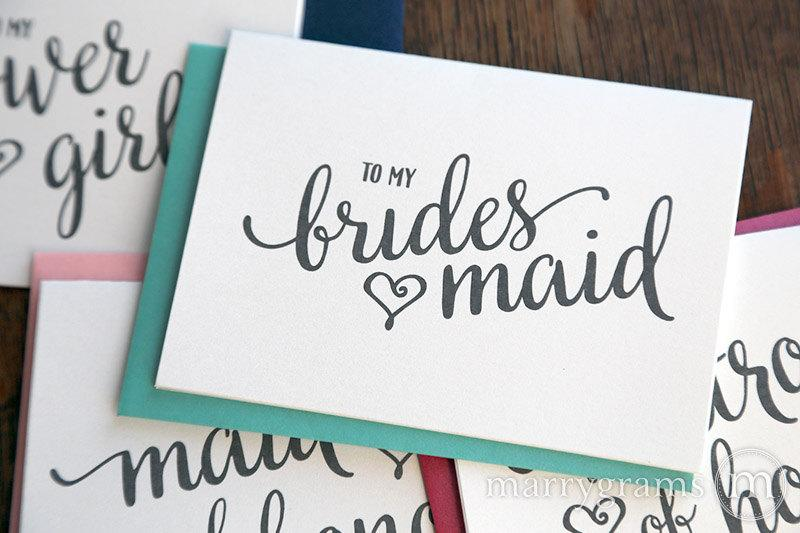 Свадьба - To My Bridesmaid Bridal Party Wedding Thank You Cards - Thank You Bridesmaid Card, Man of Honor, Maid of Honor, Matron, Flower Girl - CS15