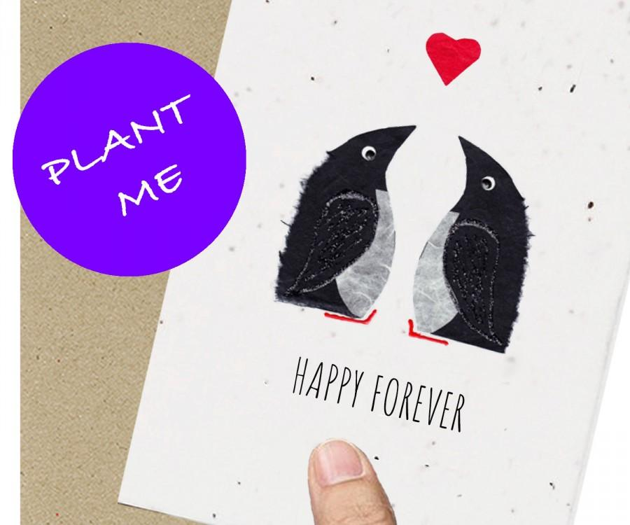 Свадьба - Eco Friendly Card / Penguin / Engagement / Wedding / Anniversary  / Husband  / girlfriend /boyfriend / fiance