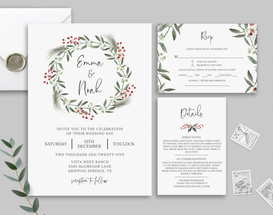 Свадьба - Winter Wedding Invitation Template, Christmas Wedding Invitation Set, Rsvp Card, Details Card, Printable, Templett, Rustic Wedding, Diy