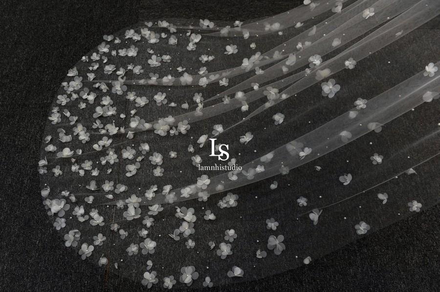 Свадьба - LS125/ 3D floral veil/ 1 tier veil/ chapel veil/ bridal veil/ weddingveil/custom veil