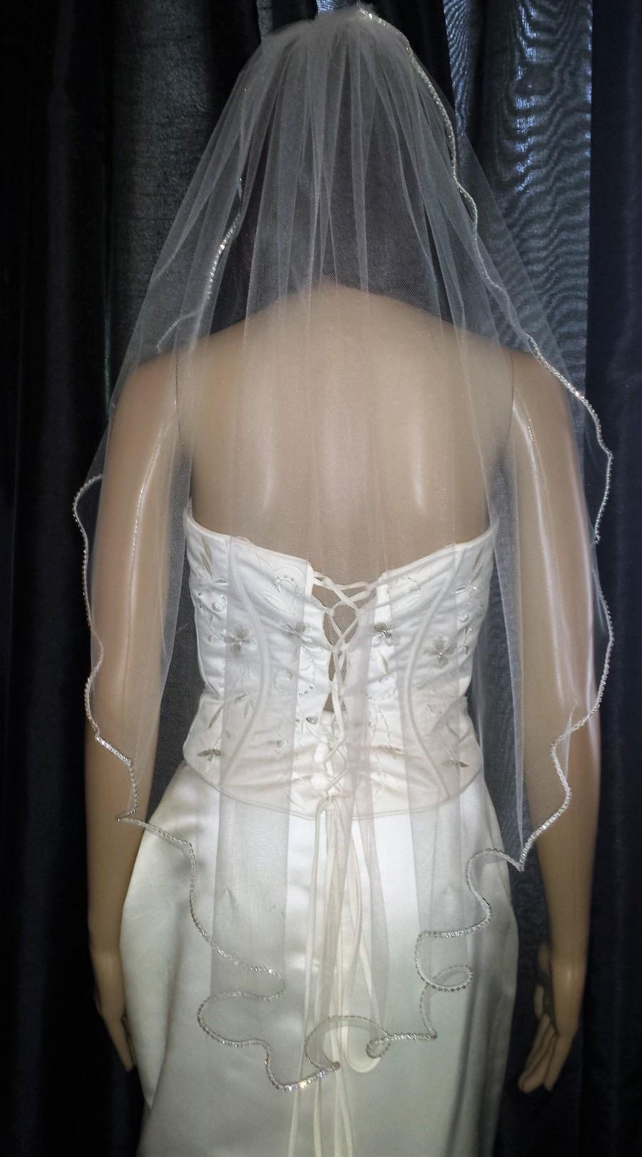 Свадьба - Ivory wedding veil Diamante Rhinestone edged veil. Various lengths, colours and widths to choose from. FREE UK POSTAGE