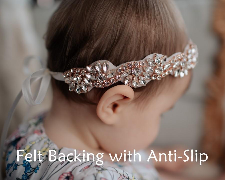 Свадьба - Rose Gold Rhinestone Anti-Slip Headband, Special Occasion, Baptism, Christening, Flower Girl, Photo Prop, Bridesmaid, Bridal