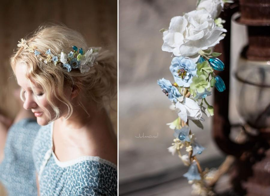 Свадьба - Bridal hair accessories, headpiece for boho wedding, floral wreath Oktoberfest