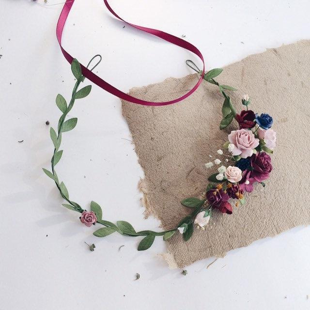 Wedding - Child Maroon Flower Crown. Burgundy and navy blue flower crown. Burgundy and pink flower crown. Burgundy headpiece. Wine flower crown. Pink