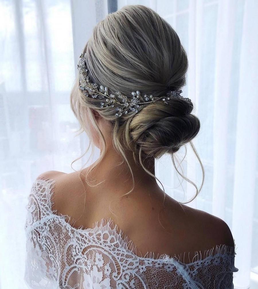 Wedding - Gold hair vine Branch headpiece Pearl hair vine Gold headband Bridal hair pieces Hair vine Boho hair vine Bridal head piece Gold headpiece