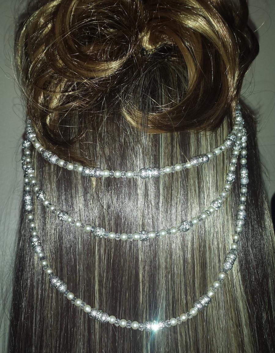 Wedding - Bridal hair combs, Hair swag, hair combs chain, Gatsby headpiece, pearls and crystals, pearl bridal combs, silver diamante decorative combs