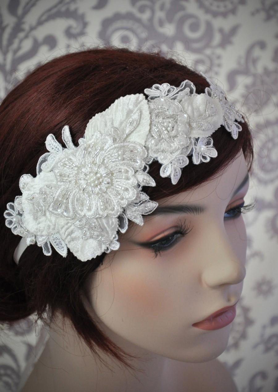Wedding - Lace Headpiece, Bridal Hair Accessories, Lace Headband, Bridal headband, Beaded Lace Hair Piece, white, ivory - 106HB