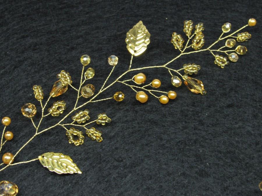 Wedding - Extra long gold crystal hair vine Leaf hair piece Pearl wedding hair vine Bridal crystal headband Gold leaf vine bride Crystal piece hair