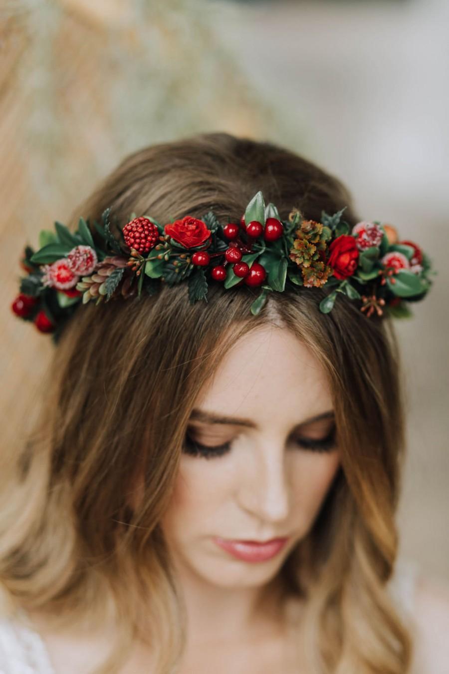 Wedding - Woodland crown, berry crown, floral crown, green crown, boho headpiece, leaf hairband, forest wedding, red flower crown, burgundy hairpiece