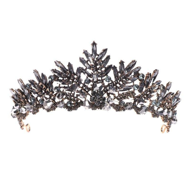 Wedding - Black Diamond Navette Foiled Baroque Crown BLACK DIAMOND Rhinestone Black Crown Black Bridal Crown