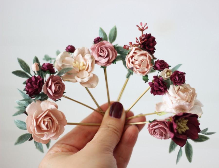 Wedding - Set of 8 bobby pins Burgundy dusty rose blush pink hair pins  Floral headpiece Bridal hairpiece  Bridesmaid Wedding hair piece